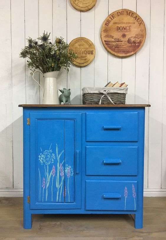 Hand Painted Kitchen Cupboard, Blue Painted Cupboard, Rustic Storage Cabinet