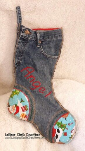 Blue jean stocking, denim stocking, Christmas stocking, Lollipop Cloth Creations, free motion monogram