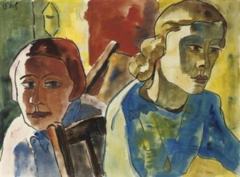 Zwei Frauen (Frau und Mädchen) By Karl Schmidt-Rottluff ,1932