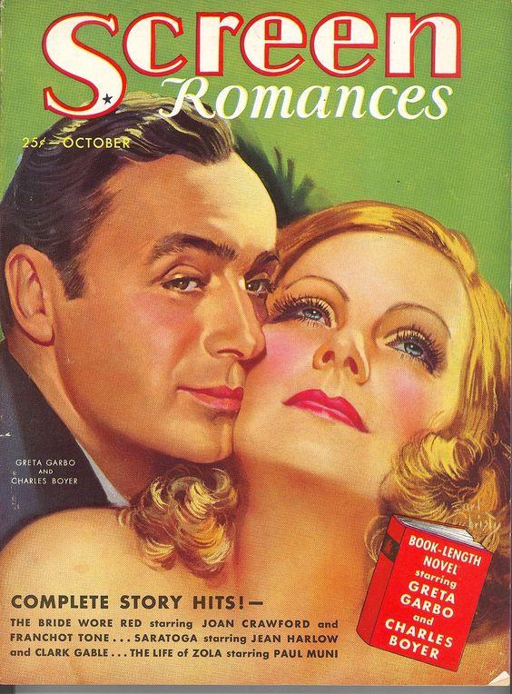 Greta Garbo & Charles Boyer -- Screen Romances, October 1937