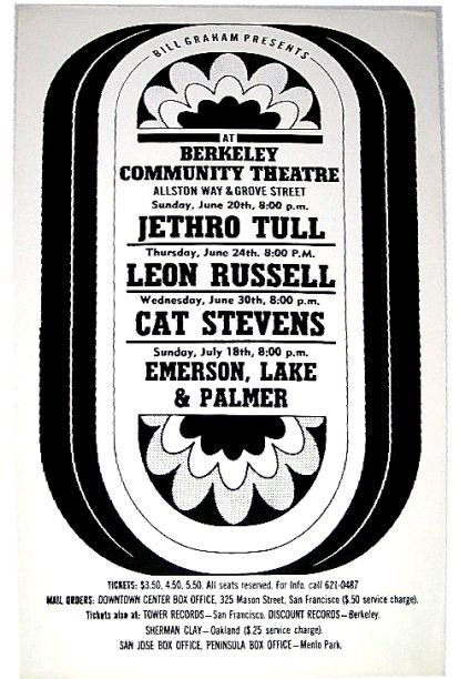 Jethro Tull, Leon Russell, Cat Stevens, ELP - Berkeley Community Theatre, USA 1971