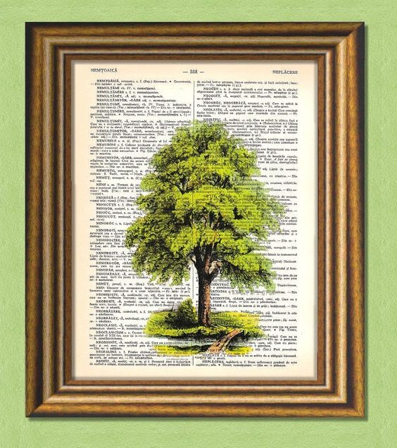 TREE TRILOGY 3 - Easter Promotion - Dictionary art -Vintage art book print recycled - Art Print Dictionary. $5.50, via Etsy.