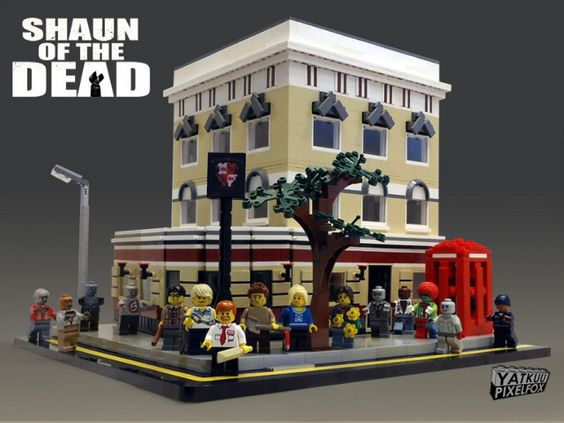 """Shaun of the Dead"" in Legos."