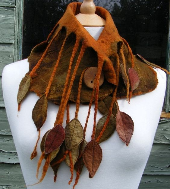 Elven Leafy Felted Woodland Cowl Scarf. $75.00, via Etsy.