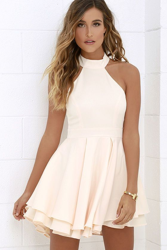 Dress Rehearsal Peach Skater Dress | Spotlight Pastel And ...