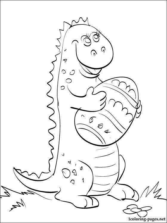 Coloring Pictures Of Dinosaurs Coloring Page Small Dinosaur With Easter Egg In 2020 Dinosaur Coloring Pages Dinosaur Coloring Easter Coloring Pages