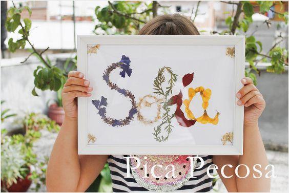 Haz un cuadro de tu nombre con flores secas   Manualidades