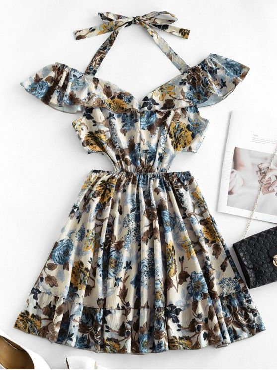 33 Off Hot 2020 Ruffle Waist Cutout Floral Dress In Multi A Zaful South Africa Style Cute Occasion Casual Vacation In 2020 Print Dress Floral Dress Dresses
