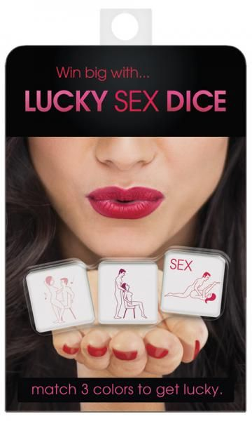 Lucky Sex Dice match three colors to get lucky! Take turns rolling the dice and interpreting foreplay actions. When you win, you and your lover get to act out the SEX die. Rules translated into English, Spanish, French and German.