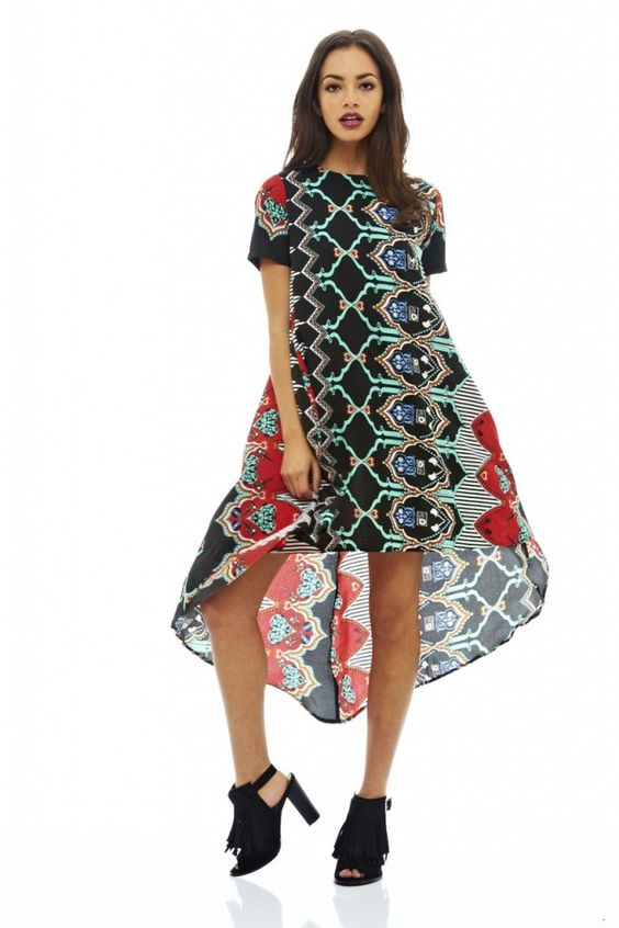 PRINTED DIPPED HEM DRESS