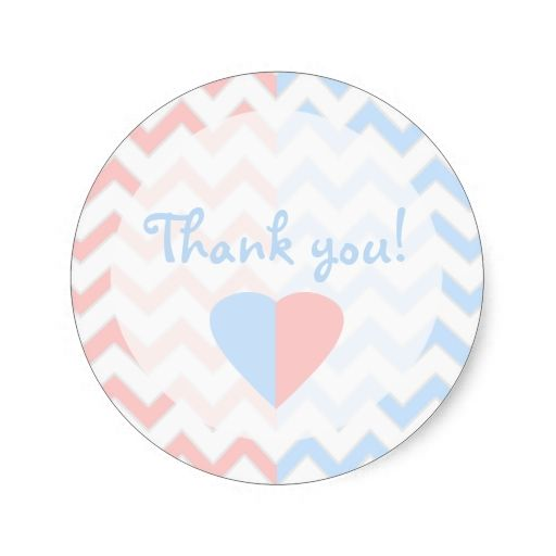 Blue and Pink Chevron Twins Baby Shower Thank You Sticker