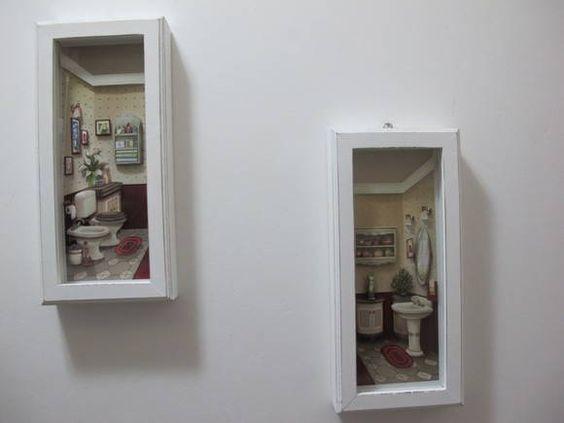 Quadro Decorativo p/Lavabo em Arte Francesa c/vidro 2pçs. Com opção de várias cores p/a moldura. 13 larg. X 3,5 alt. X 28 comp. . R$ 70,00