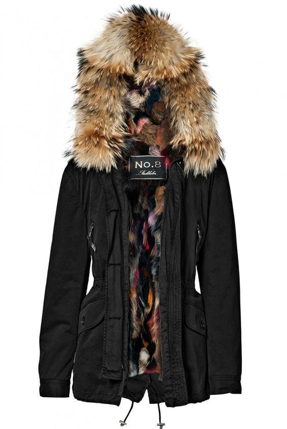 patchwork fur parka coat blonde no 8 coats others. Black Bedroom Furniture Sets. Home Design Ideas