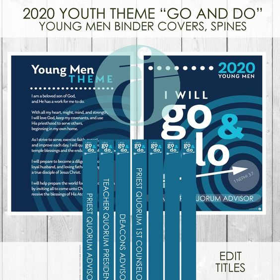 2020 Youth Theme Go And Do Young Men Aaron Priesthood Etsy Youth Theme Young Man Binder Covers