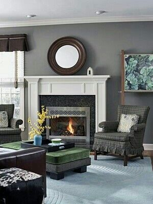 Mirror above fireplace