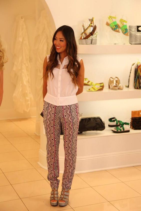 Aimee Song, style blogger at Song of Style, in Nanette's Pebble Pant, Athena Top, and Addicted To You Heels for E! News