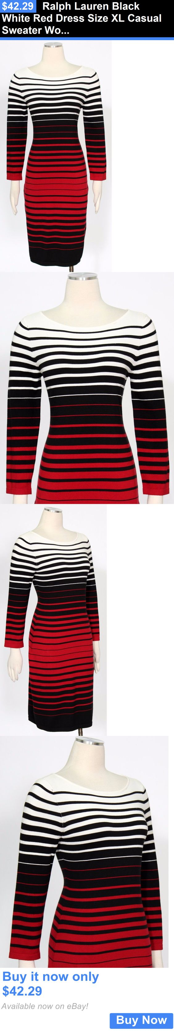 clothing and accessories: Ralph Lauren Black White Red Dress Size Xl Casual Sweater Womens New* BUY IT NOW ONLY: $42.29