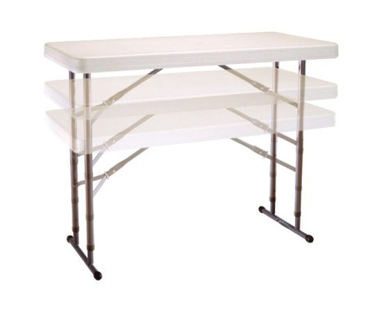 Lifetime Adjustable Height Folding Table 80161 4 Ft Almond Color Top In 2020 Folding Table Adjustable Height Table Portable Work Table