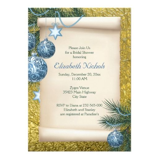 Blue ornaments and parchment scroll on printed gold foil Christmas bridal shower wedding invitation. #Christmasornaments, #Christmaswedding, #bridalshower, #invitations, #blue, #gold, #scroll, #wedding