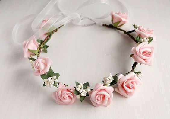 Pink Rose Crown Boho Head Wreath Flower Girl Halo by HandyCraftTS