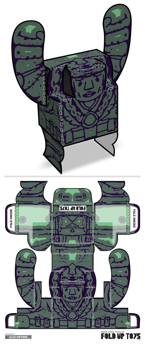 Downloadable paper art toy design by Fold Up Toys - Rorschach #008