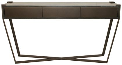 Panama Console Table With Drawer  Textured bronze and textured charcoal finish. 1500mm x 400mm x 850mm h.   Available in polished stainless steel and all paint finishes.
