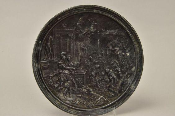 Alter Metallguss Reliefteller, Renaissanceszene in Antiquitäten & Kunst, Plastik & Skulptur, Vor 1900