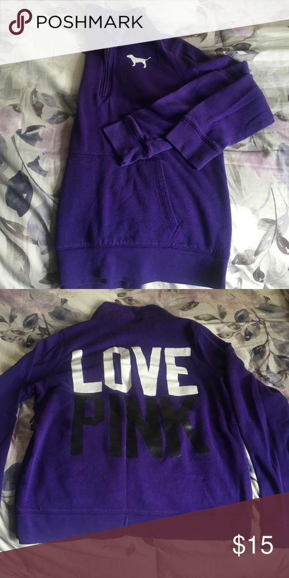 Pink Quarter zip sweatshirt This is a purple quarter zip PINK sweatshirt. Excellent condition. PINK Victoria's Secret Tops Sweatshirts & Hoodies