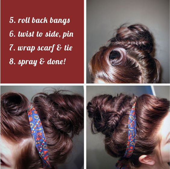 Hair: Messy Fishtail Bun With a Rolled bangs