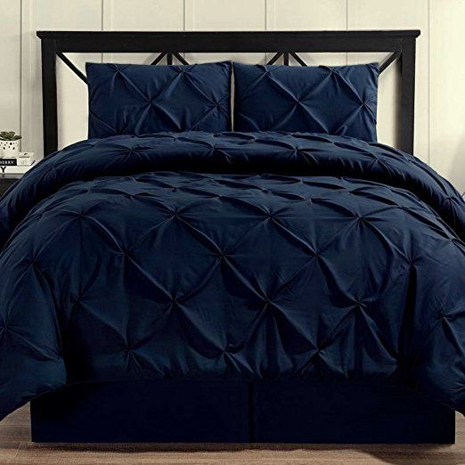 Comforter Set 4 Piece Pinch Pleat Pintuck Durable Stitching Luxury Modern Hypoallergenic All Season Soft Be Black Comforter Sets Black Comforter Comforter Sets