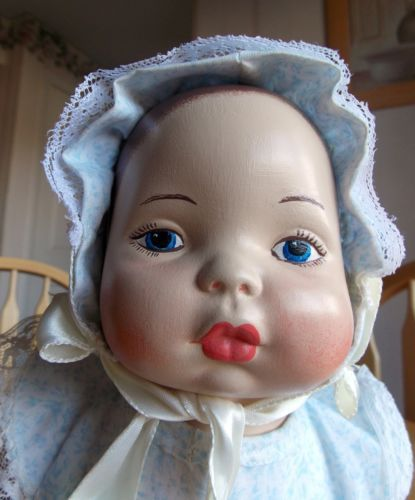 Vintage, Blue-Eyed, Ceramic Doll, Crawling Baby In Hat & Jumper,Beauty, QK SHIP