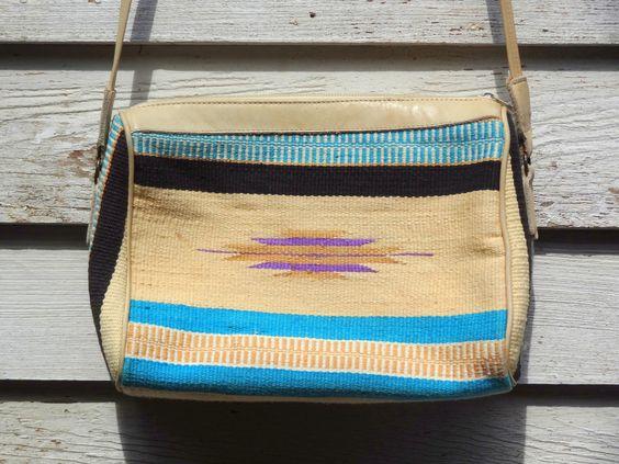 Vintage Southwest Bohemian Carpet Shoulder Bag/Purse Turquoise And Cream on Etsy