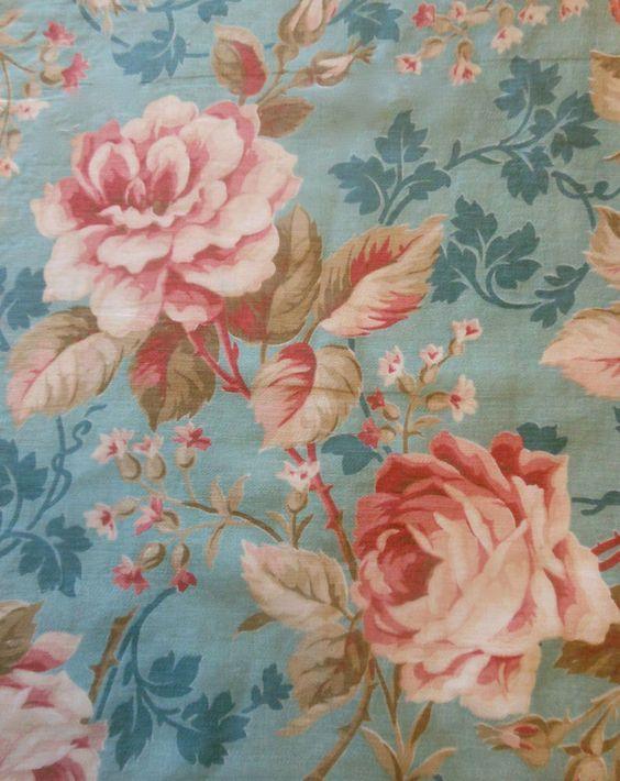 Antique Romantic Shabby Roses Cotton Fabric ~ Robin's Egg Blue Soft Blush ~ 1900
