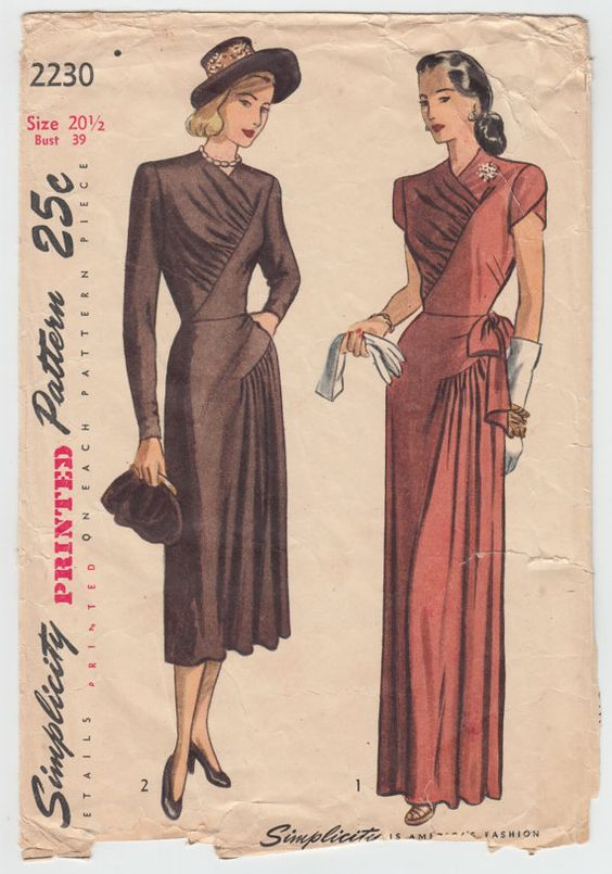 Vintage Sewing Pattern Rare Ladies 1940\'s Evening Gown Simplicity ...