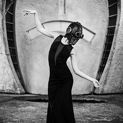 Grace. Ph. By Sergey Basin  #bobbasset #leather #art #fashion #mask #woman #black #allblack #steampunk #cyberpunk #leatherwork