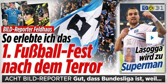 3:1 #HSV vs #BVB or #Superman vs #Batman or #Labbadia vs #Tuchel lol http://www.bild.de/sport/fussball/hsv/hsv-dortmund-alle-infos-im-live-ticker-43481472.bild.html http://www.bild.de/sport/fussball/kai-feldhaus/erlebte-spiel-eins-nach-dem-terror-43491370.bild.html http://www.bild.de/bundesliga/1-liga/saison-2015-2016/spielbericht-hamburger-sv-gegen-borussia-dortmund-am-13-Spieltag-41763712.bild.html