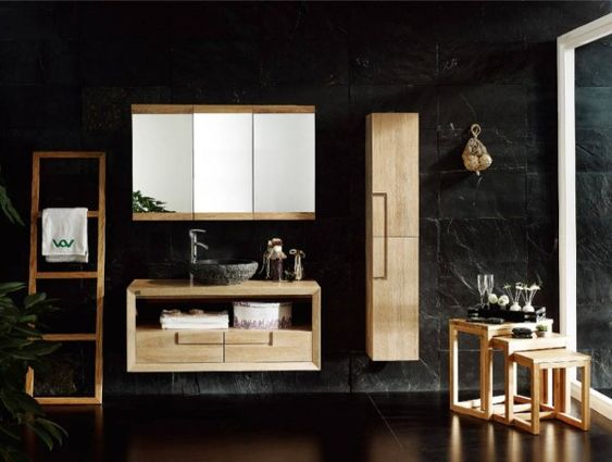 furniture breathtaking bathroom wall mounted storage cabinets with 3 door mirror over rough cut stone vessel sink on floating vanity unit alongside wooden ladder towel rack