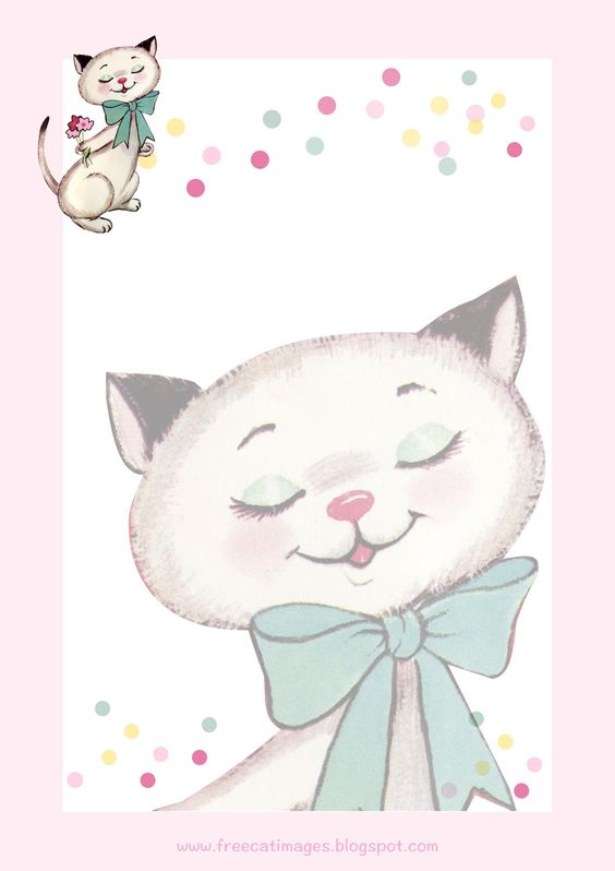 FREE printable vintage cat stationery - freebie