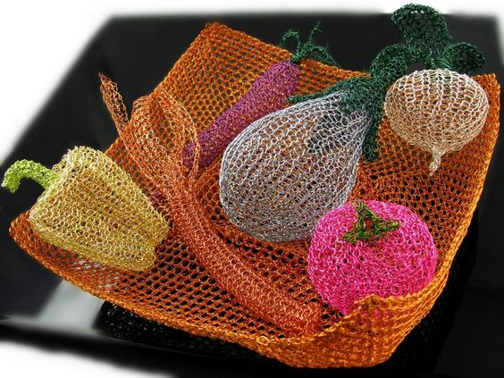 Wire crochet bowl with veggies by *CatsWire on deviantART