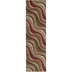 Nourison Summerfield Waves Beige Geometric Rug (2'3 x 8')
