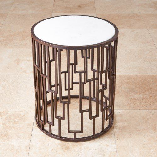 Layered Bronze Metal Open Geometric Accent Table White Marble Round Drum Barrel Barrel Table Marble Tables Design Marble End Tables