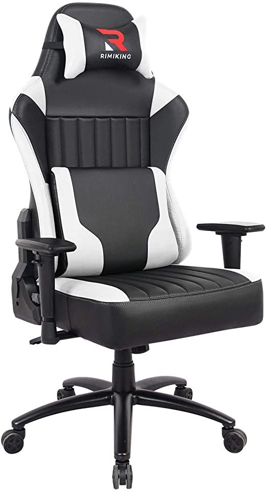Rimiking High Back Gaming Chair Big Tall Ergonomic Adjustable Tilt Angle Amp Arms Racing Executive Computer Desk O In 2020 Office Computer Desk Gaming Chair Headrest