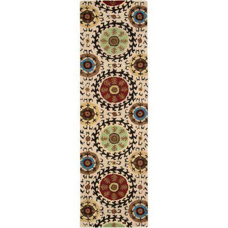 Nourison Suzani Collection SUZ08 Beautifully Textured Rug, Beige