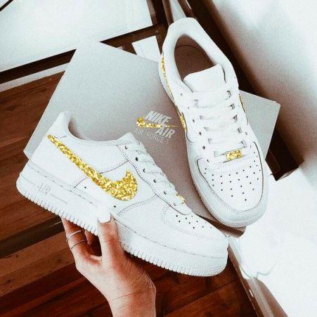 Nike AF1 Gold Glitter Aesthetic | Nike shoes air force, Nike, Nike ...