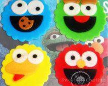 Fondant-Sesamstraße, Cookie Monster, Elmo, Bigbird, Oscar der Cupcake Grouch oder Cookie-Topper