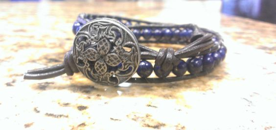 Lapis Lazuli healing crystal Double Wrap Bracelet with Fancy button close by DoubleDeesigns on Etsy