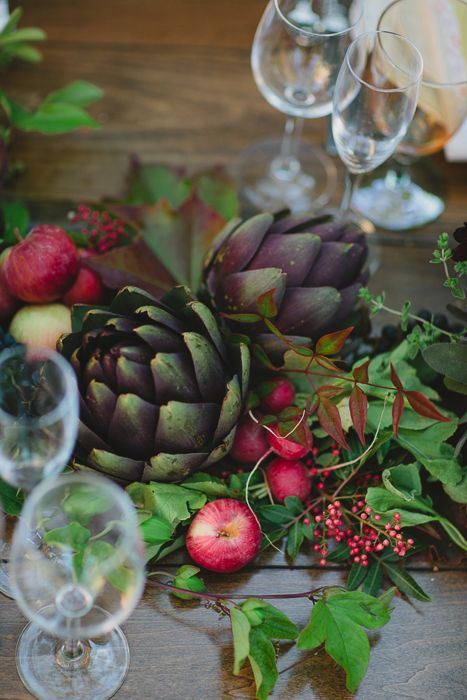 Wedding Blog Farm to Table Inspired Shoot, perfect decor idea for an outdoor, summer wedding! #artichokes #weddingdecor #weddingplanning