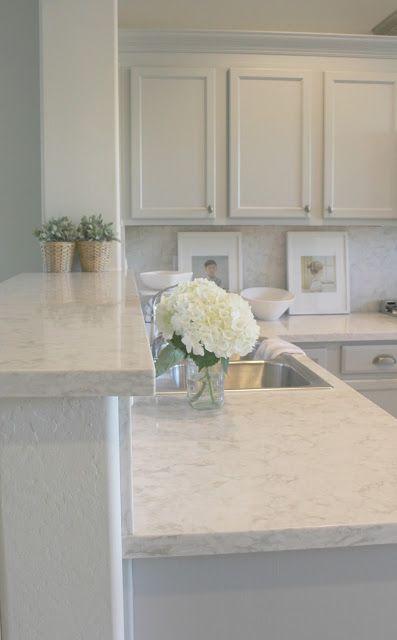 Lovely Modern Farmhouse Kitchen Decor Ideas! Serene, timeless, and tranquil decor has replaced a tired, sad and dated design. #kitchen #modernfarmhouse #greykitchen #lightgrey #hellolovelystudio #serene