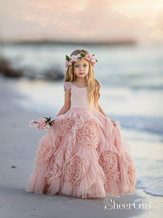 Party Dress Special Occasion Pastel Pink Ruffle Layer Flower Sweet Girls