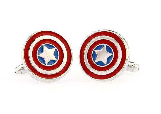 Captain America Cufflinks.Mens Cufflinks.Wedding Cufflinks.Casual Cufflinks.Groomsmen Cufflinks.